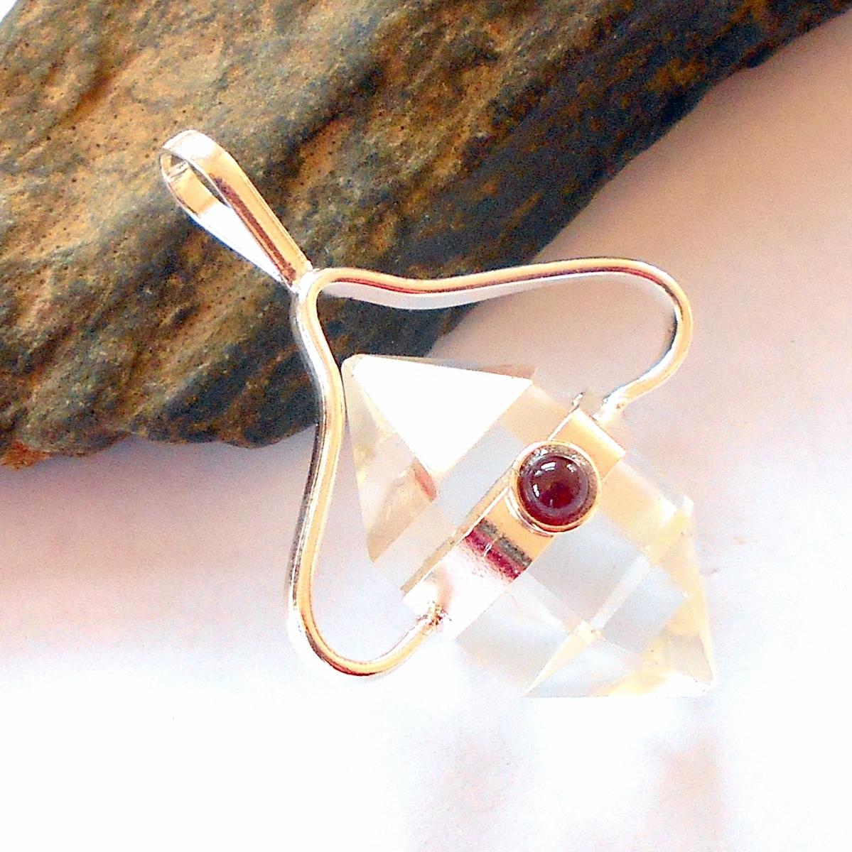 Garnet and Herkimer Diamond Heart Pendant Psilomelane