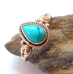 Turquoise Sterling Silver Ring Size 6.5