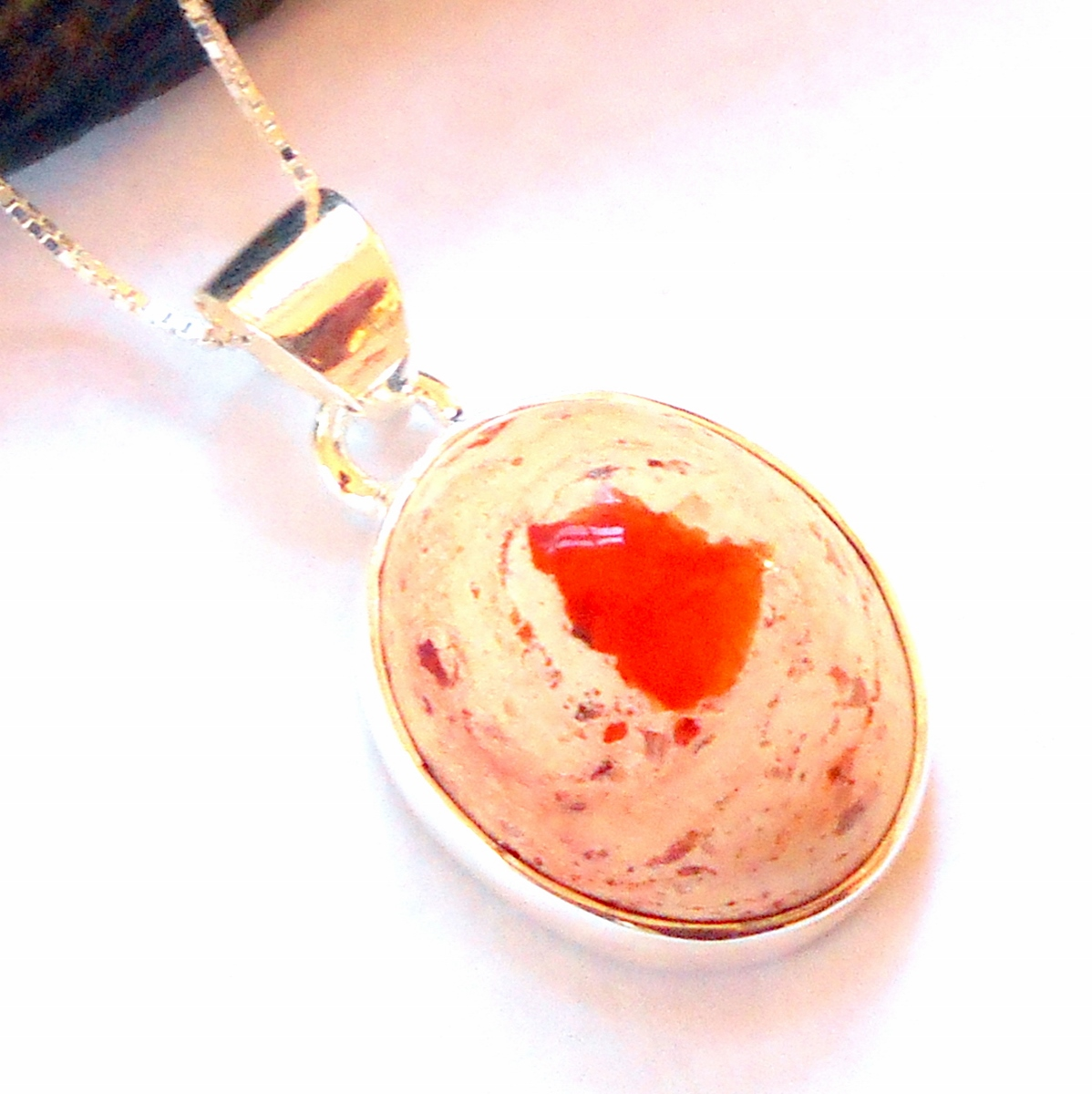 Free Shipping Opal Necklace Fire Opal Necklace Fall gifts Leather Bridesmaid necklaces Weddings September Mexican Fire Opal Necklace