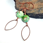 Green Crazy Lace Agate Copper Earrings