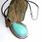Tibetan Silver Turquoise Howlite Leather Necklace