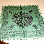 Green Moon Phase Protection Symbol Altar Cloth