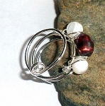 Cranberry Pearl and Mother of Pearl Ring