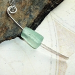 Roman Glass Teal Paddle Necklace