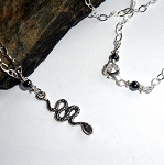 Hematite Snake Charm Necklace