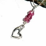 Pink Tourmaline Heart Charm Necklace