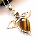 Tigers Eye and Citrine Angel Wing Necklace