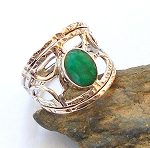Emerald Sterling Silver Ring Size 7