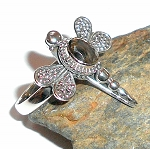 Smoky Quartz Dragonfly Ring Size 6