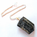 Raw Black Tourmaline Pendulum