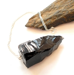 Raw Black Obsidian Pendulum