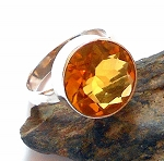 Citrine Sterling Silver Ring Size 7