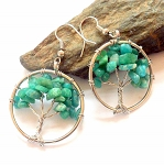 Russian Amazonite Tree of Life Earrings