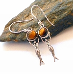 Tigers Eye Sterling Silver Mermaid Earrings