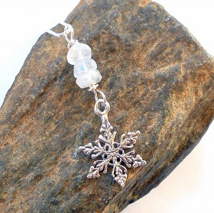 Moonstone Sterling Silver Snowflake Necklace