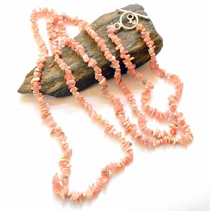 Rhodochrosite Long Chip Necklace