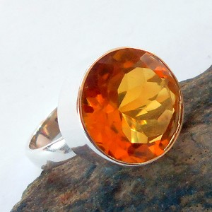 Citrine Sterling Silver Ring Size 6.5