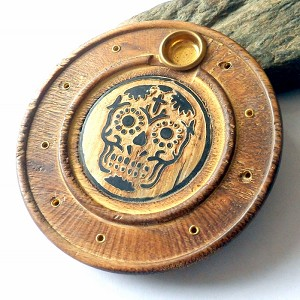 Carved Skull Incense Burner Plate