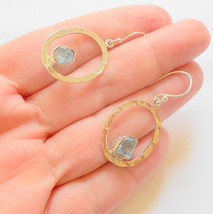 Raw Aquamarine Sterling Silver Post Earrings