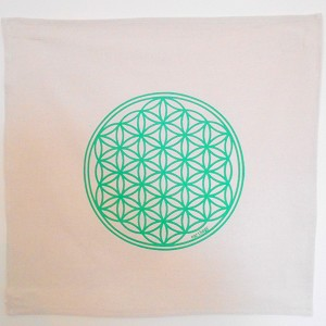 Flower of Life Crystal Grid Cloth -  20x20 Green