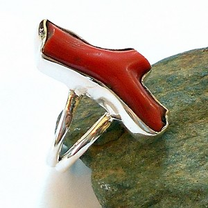 Red Coral Sterling Silver Ring Size 6