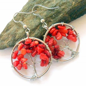 Red Coral Tree of Life Earrings