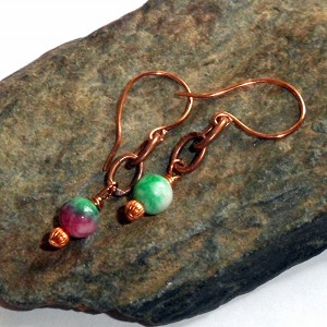 Watermelon Jade Copper Earrings