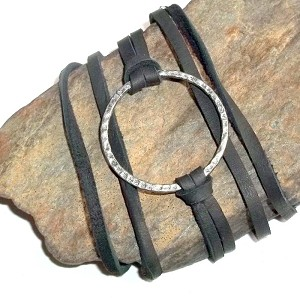Silver Disc Leather Wrap Bracelet