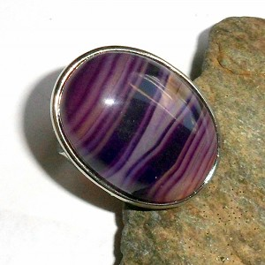 Purple Agate Oval Ring