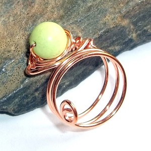 Lime Green Jade Copper Ring