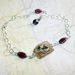 Roman Glass and Plum Garnet Bracelet