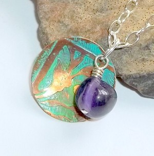 Goddess Diana Necklace Ancient Patina Amethyst